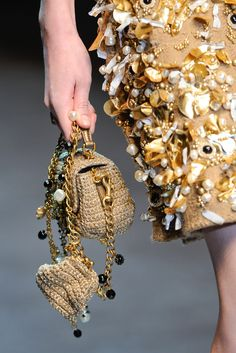 Dolce & Gabbana crochet purse with attatched change purse. Rose charms and beads on the straps