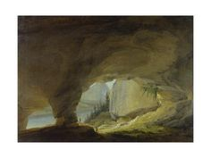 size: Giclee Print: View from the Beatus Cave onto the Thuner Lake by Caspar Wolf : Entertainment Caspar Wolf, Wolf Painting, North Country, Gradient Color, Printing Process, Find Art, Framed Artwork, Giclee Print, Cave