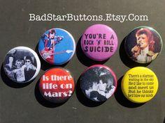 David Bowie Ziggy Stardust Glam Rock Button Set by BadStarButtons