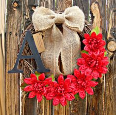 Primitive Country Wreath  Red Dahlia Wreath by Frontporchdecor, $43.00