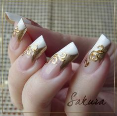 Nails,Nailpaint,Nailpolish,Golden,White,Makeup - inspiring picture on PicShip.com