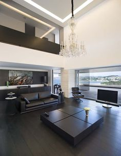 love the this living room and the balcony...but not the chandelier