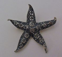 Sterling Silver Marcasite Star Fish Brooch by onetime on Etsy, $12.25