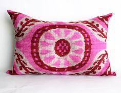 Yuner-Silk Velvet Ikat Pillow Cover-Decorative Handmade Pillow Case,24X16 inches