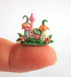 Miniature Fairy Blossom House Colony OOAK by artist C. Rohal