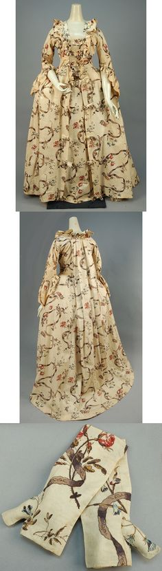 PRINTED COTTON SACQUE BACK GOWN and MITTS, FRENCH, 1750 - 1775.