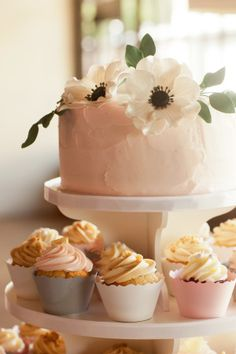wedding cake, cupcake mix, floral, pink, gray, blush, cream,
