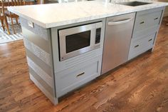 """let me introduce you to the """"front"""" of my striped island---and another fun feature--the """"built -in"""" microwave. Built In Microwave Cabinet, Microwave In Island, Island With Stove, Microwave Drawer, Under Counter Microwave, Upper Cabinets, Base Cabinets, Diy Cabinets, Kitchen Cabinets"""
