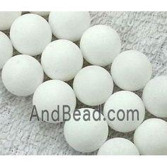 round matte jade beads, white dia, per st Jade Beads, Saints