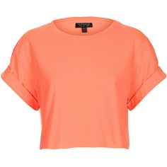 TOPSHOP Fluro Roll Back Crop Tee ($20) ❤ liked on Polyvore