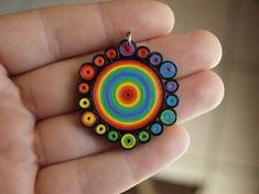 July - Colourful dotart Christmas tree ornaments on wood mandala on Quilling Keychains, Paper Quilling Earrings, Arte Quilling, Origami And Quilling, Quilling Flowers, Paper Quilling Tutorial, Paper Quilling Patterns, Quilled Paper Art, Quilling Paper Craft