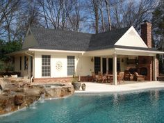 Outdoor Pool Patios | New pool and pool house, complete with waterfall, spa, and outdoor ...