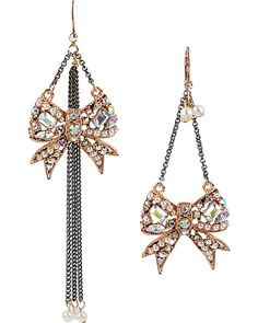 CRITTER STATEMENT ROSE GOLD BOW EARRING CRYSTAL accessories jewelry earrings fashion
