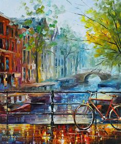 Amsterdam Print featuring the painting Bicycle In Amsterdam by Leonid Afremov