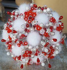 "Wedding Bouquet""Winter Cherry""Bridal bouquet-Bouquet beads-Bunch of beads-Brooch bouquet crystals-Natural mink fur-Alternative-Red-Silver"