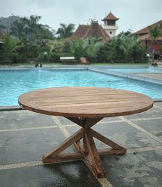 Round teak garden table, made from reclaimed teakwood