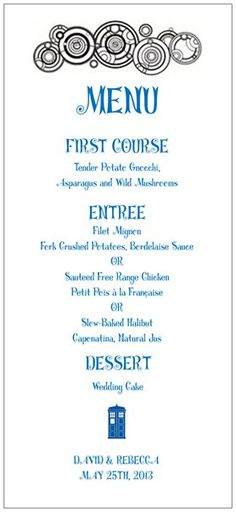 Doctor who wedding menu, something like this but not exactly