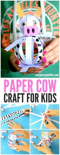 Easy Paper Cow Craft for kids! A fun interactive craft for a farm unit!