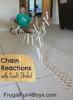 Build a Chain Reaction with Craft Sticks by Frugal Fun for Boys
