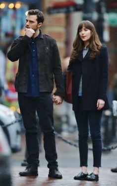Jamie Dornan and Dakota Johnson as Christian Grey and Anastasia Steele filming Fifty Shades Darker and Freed http://www.everythingjamiedornan.com/gallery/displayimage.php?album=179&pid=22562#top_display_media
