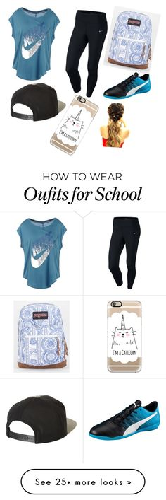 """""""School outfit"""" by vicky1245 on Polyvore featuring NIKE, Puma, Brixton, JanSport and Casetify"""
