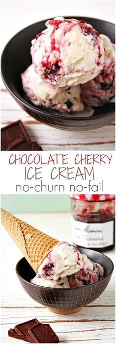 Chocolate Cherry Ice Cream – no-churn homemade ice cream recipe with a vanilla base, cherry preserves swirl and dark chocolate chunks! The two-ingredient ice cream recipe is rocking the web right now. And rightly so! The fact that … Continue reading → Ice Cream Treats, Ice Cream Desserts, Ice Cream Flavors, Köstliche Desserts, Frozen Desserts, Ice Cream Recipes, Frozen Treats, Summer Desserts, Cherry Ice Cream