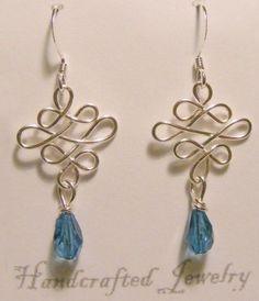 Blue Drop Wire Wrap Silver Earrings | NatureCornerstore - Jewelry on ArtFire