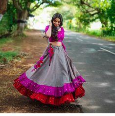 5 of Navratri Chaniya Choli designs if you want to go viral – GirlandWorld Cotton Lehenga, Lehenga Gown, Anarkali, Silk Lehenga, Floral Lehenga, Choli Designs, Lehenga Designs, Blouse Designs, Dress Designs