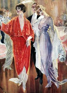 Ladies' Evening Dress, the Ragtime Era. 1910-1920 by Katy Bishop, Vintage Victorian. Dressing for a Ragtime Ball:    Fashionable gown styles varied from year to year during the 1910's. At the beginning of the decade styles were rather columnar, with long skirts that fell quite straight. By 1913-14 (the period chosen by CVD for their performing gowns) the skirts are elaborately draped and quite fanciful. In the middle of the decade, during 1915-16, the skirts developed an A line silhouette…