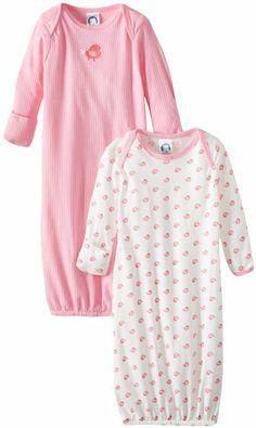 25541d6686 WARM BUT NOT RESTRICTING  Gerber Baby-Girls Newborn 2 Pack Bird Gown