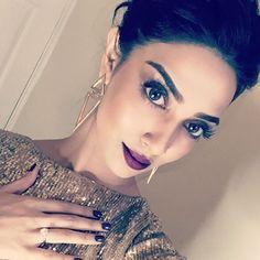 Absolutely stunning look of Rumena Rumena Begum, Material Girls, Red Carpet Looks, Liquid Lipstick, Absolutely Stunning, Huda Beauty, Hoop Earrings, Make Up, Glamour