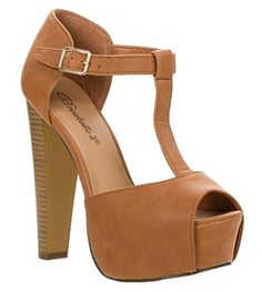 Heeled Sandals  Breckelles Womens BRINA Peep Toe High Heel TStrap Platform Sandals Tan 9 * This is an Amazon Associate's Pin. Find out more on Amazon website by clicking the image.