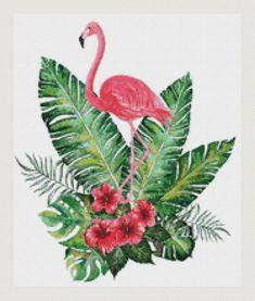 Flamingo Decor, Flamingo Bird, Pink Bird, Cross Stitch Bird, Cross Stitch Flowers, Cross Stitching, Cross Stich Patterns Free, Cross Stitch Charts, Horse Pattern