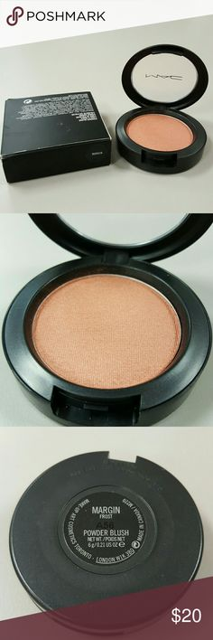 MAC Cosmetics Margin Blush In Box Frost Makeup New in box... MAC frost blush in Margin which is a shimmering golden-bronze mauve pink. Would look gorgeous for summer with tan skin. The clear part of the case has a few skuffs from storage, otherwise new condition. MAC Cosmetics Makeup Blush