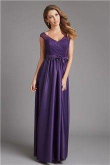 A-Line/Princess V-neck Floor-length Lace Elastic Woven Satin Evening Dress