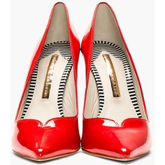 Sophia Webster Red Patent Leather Lyla Text Heel Pumps ($198) ❤ liked on Polyvore featuring shoes, pumps, heels, red pointy toe pumps, red shoes, patent leather pumps, red patent leather shoes and pointed toe pumps