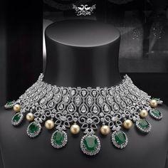 Beautiful diamond, emerald n pearl necklace by Shree Raj Mahal Jewellers