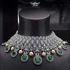 Beautiful diamond, emerald n pearl necklace by Shree Raj Mahal Jewellers