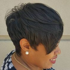 Black Pixie With Long Layered Bangs Pixie Styles, Short Hair Styles Easy, Short Hair Cuts, Natural Hair Styles, Pixie Cuts, Short Black Hairstyles, Hairstyles With Bangs, Relaxed Hairstyles, Quick Hairstyles