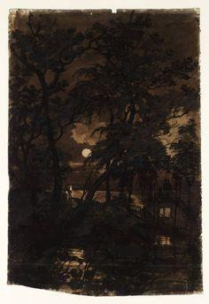 A Transparency: The Moon Seen through Trees, Joseph Mallord William Turner (English, 1775–1851).  Watercolour on paper.   Arcádia Interiorana