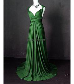 Bridesmaid Dress Deep Green Formal Dress Wrap Convertible Dress Infinity Dress Evening Gown