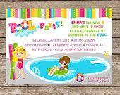 Printable Girl or Boy Pool Party Swimming Birthday Water Invitation - Digital File Beach Party Invitations, Baby Shower Invitations, Birthday Invitations, Boy Pool Parties, Girl Birthday, Birthday Parties, Birthday Ideas, Lets Celebrate, Custom Cards