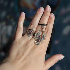 Phoenix Sterling Silver with Gold plated Bird pendant. Pendant with gemstones. Eagle pendant. Beautiful phoenix birds pendant.