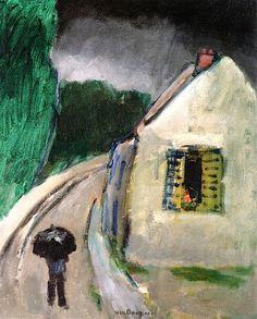 Village Street in the Rain - Kees Van Dongen (Dutch-born but became a French citizen) André Derain, Georges Braque, Dutch Artists, French Artists, Henri Matisse, Art Fauvisme, Maurice De Vlaminck, Illustrations, Illustration Art