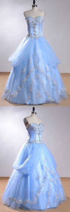 Sweetheart Sleeveless Light Blue Beading Wedding Dress With Beading WD169 #weddingdress #tullewedding #lightbluedress