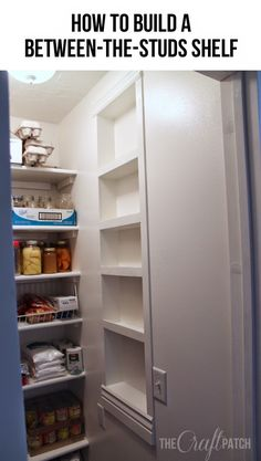 Such a great storage solution that doesn't take up any floor space... shelves between the studs!