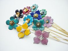 Enameled Flower Hijab Pins / Hat Pins / Stick Pins by RubinaKadir, £5.00 if you have scarves, you want pins...