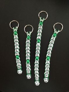 Unique Youth Sports Fundraisers. Bag tags, keychains, or bracelets. Choose team colors and sport beads (soccer, baseball, softball, basketball, or football).  #crowleycrafts #rainbowloom #soccer #coolfundraisers