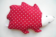 Woodland Pillow Red Hedgehog with Embroidered by HandmadeByEvaRose