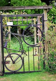 Recycled bicycle garden door!
